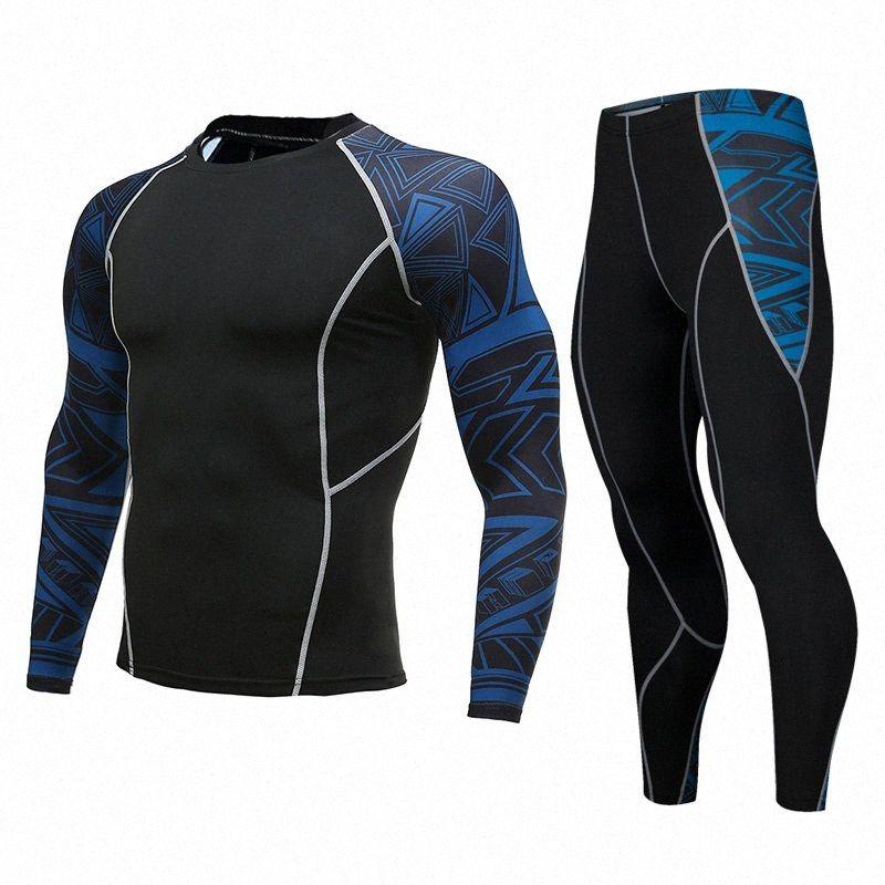 Mens Compression Set Correndo calças justas Workout Academia Training confortável Treino mangas compridas camisas Suit Sport rashgard kit 0AvK #