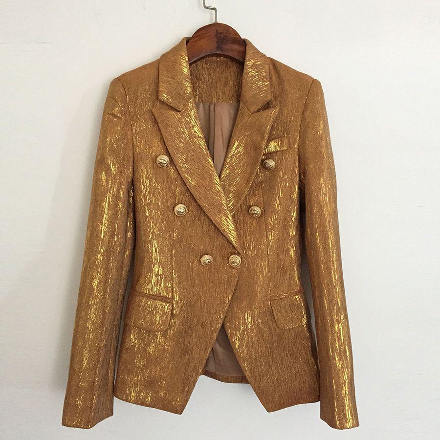 YÜKSEK KALİTE Yeni Moda 2020 Tasarımcı Blazer Ceket Kadın Lion Metal Düğmeler Çift Breasted Blazer Dış Coat Altın T200817