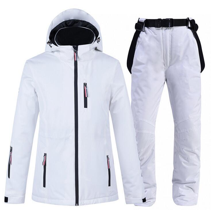 Kış -30 ° C Kayak Ceket Kar Coat Snowboard Giyim Kayak Takımları Su geçirmez Windproof snowboard ceket + Kar Pant 10K Kadın Kar Suit Isınma