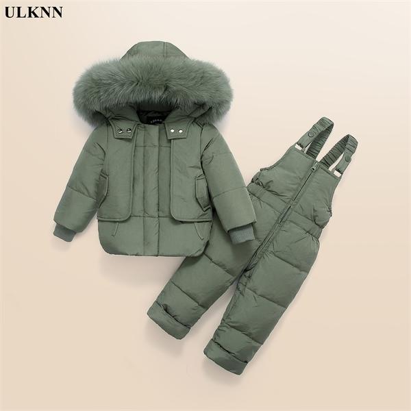 ULKNN niños del invierno sistemas de la ropa de los niños abajo cubren la chaqueta con capucha Parkas + los pantalones del babero del mono niño piel trajes para la nieve de la niña de 0926