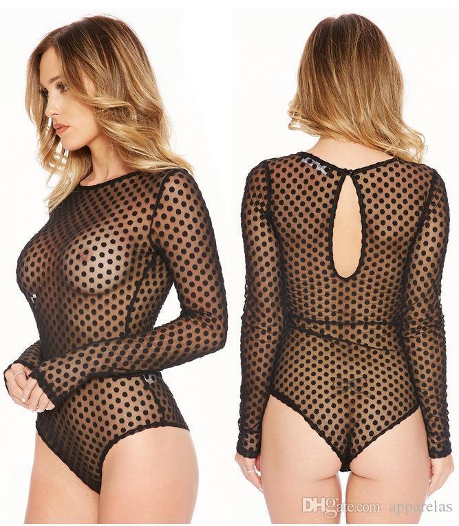 Sexy prospettiva adulta lingerie erotica tentazione aderente a pois tuta pigiama