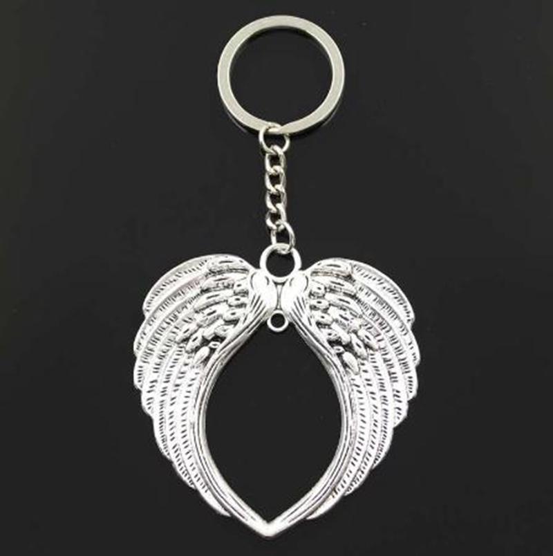 20PCS / LOT مفتاح حلقة سلسلة المفاتيح مجوهرات الفضة مطلي القلب أجنحة الملاك قلادة السحر اكسسوارات مفتاح جديد