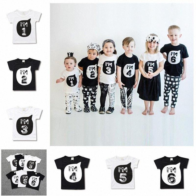 Yaz Boys Kız Giyim Numarası T Gömlek Doğum Yaş Numarası Çocuk Bebek Tee Kısa Kollu T Shirt Çocuk Mektupları Tees D33 ctxp # Tops yazdır