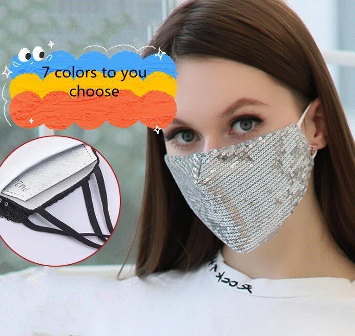 Sequins Cotton Mask Fashion Dusk Reusability Washed Masks Adult Lady Summer Prevent Dust Cotton Mask WY827