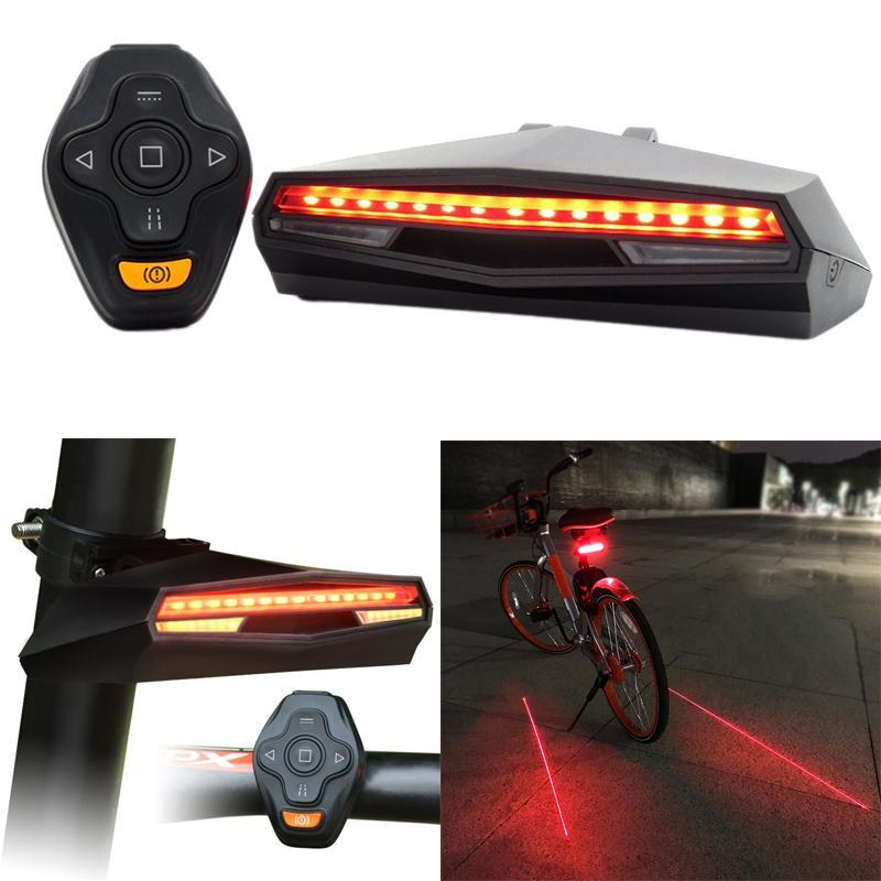 Şarj edilebilir Bisiklet Kuyruk Işık Uzaktan Kumanda Dönüş Sinyalleri Bisiklet Bisiklet Projektör Emniyet Lambası Geri Uyarı
