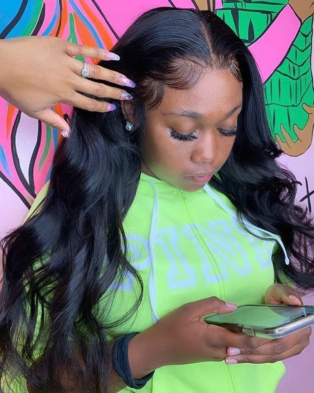 13x6 frente del cordón de la onda del cuerpo falso brasileña del frente del cordón de la peluca del cuero cabelludo humano pelucas para mujeres Negro de pelo pre arrancó nudos blanqueados 180%