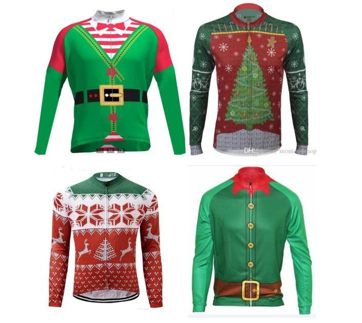 2021 크리스마스 긴 소매 사이클링 저지 t, MTB 자전거 의류, 자전거 라이더 A2 휴일 축하