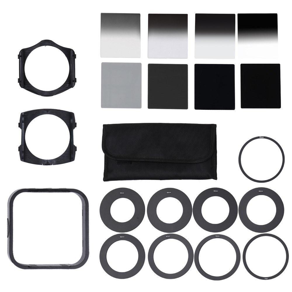 Cgjxsuniversal Neutral Density Nd2 4 8 16 Filter With 49 -82mm Adaptor Ring For Cokin P Set Slr Dslr Camera Lens Photo