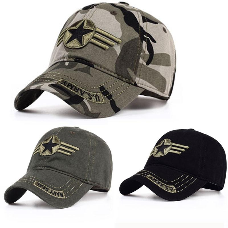 Hunting Camouflage Baseball Cap American Cotton Embroidery Alphabet Casual Caps Men Soldier Outdoor Combat Sun Protection Hats VT1562