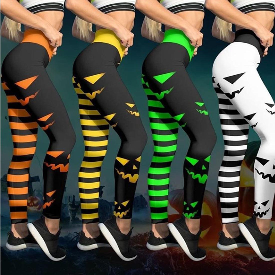 BObfS напечатаны новые моды головы стрейч узкие брюки цифровые узкие брюки высокой талии колготки тыквы Хэллоуин цифровых печатных леггинсы