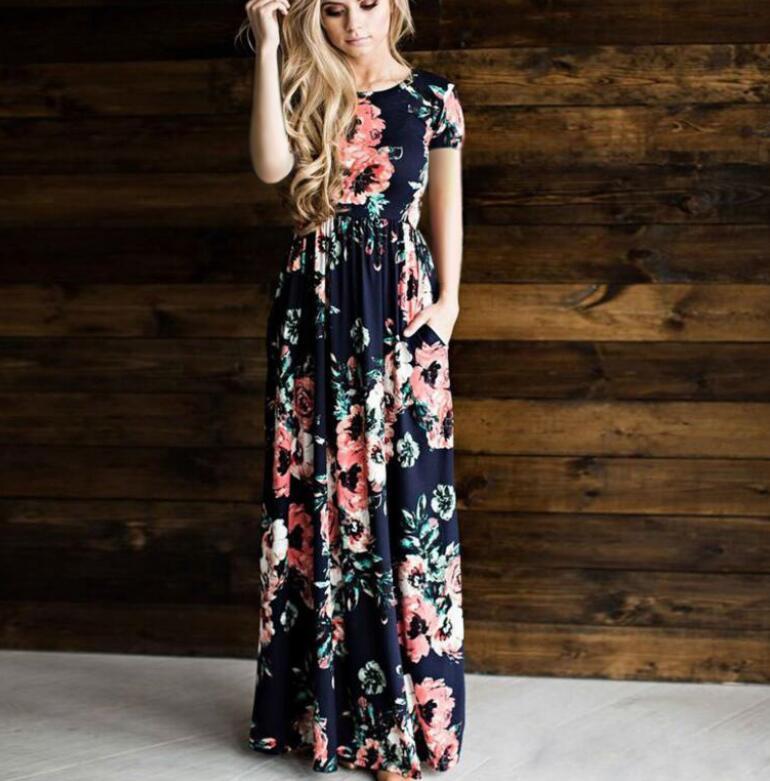 Wholesale Designer Dressess Women Floral Print Summer Boho Dress Evening Gown Party Long Maxi Dress Fashion Sundress Clothing 5 Colors