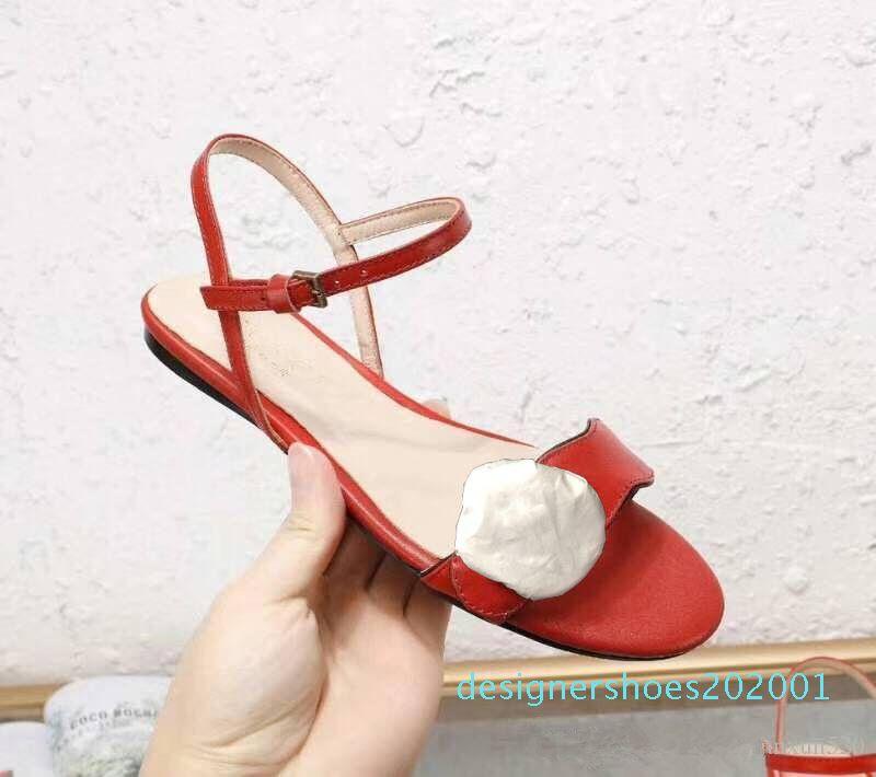 scarpe da donna sandali delle signore classiche fibbia fibbia in metallo importati sandali della donna ciabatte da spiaggia piatta progettista del cuoio genuino di grandi dimensioni d01