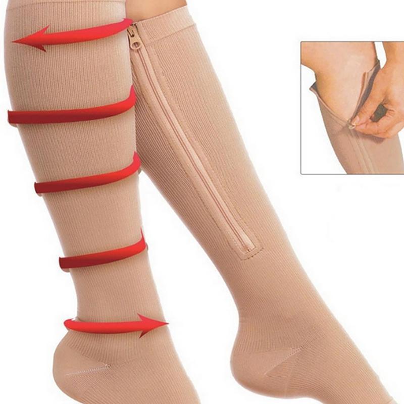Calze di compressione di sostegno delle donne degli uomini del ginocchio Zipper Calzini da donna Open Toe sottile Anti-Fatigue elastico Sox Alta
