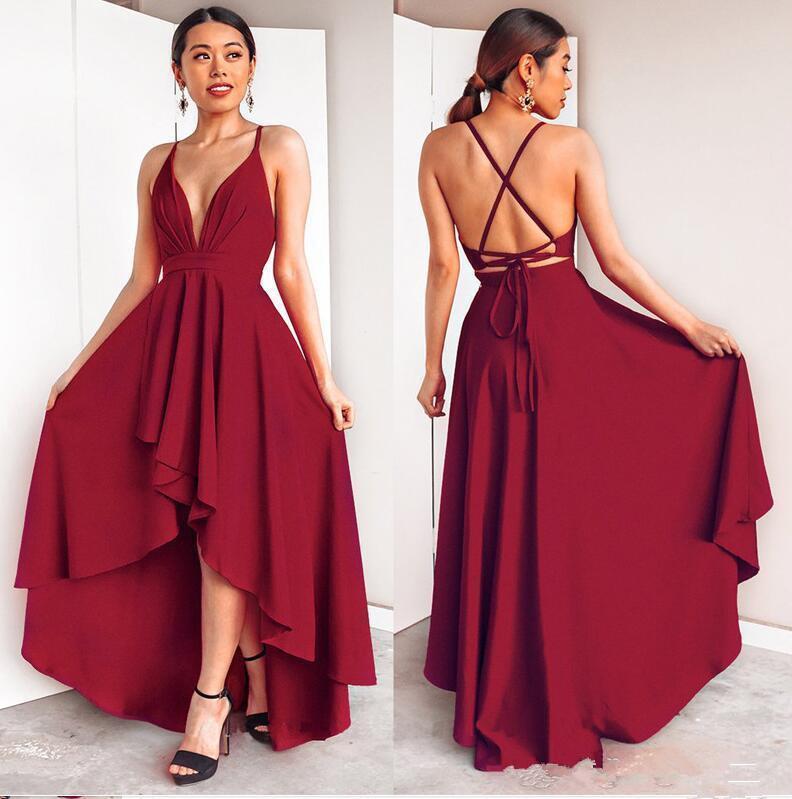 Cocktail élégant robes sexy haut bas profond bal col en V Robe en mousseline de soie entrecroisée Backless Banquet Ladies Party robe de retour
