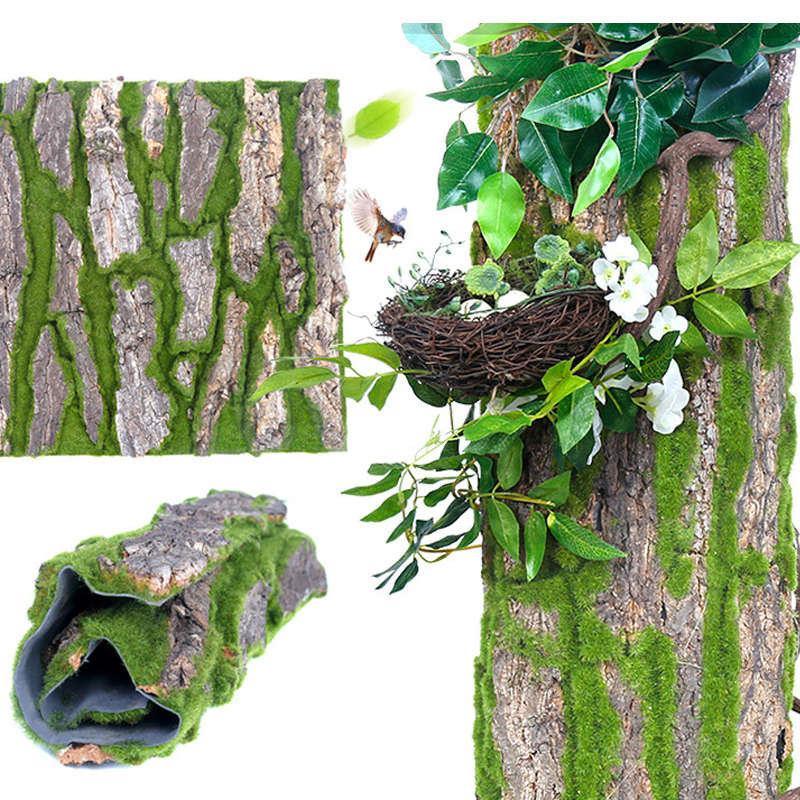 Simulation Bark Aménagement paysager Décoration Decal artificiel Moss Faux vigne fleur plante pour la colonne Pipeline Living Room Surface mur