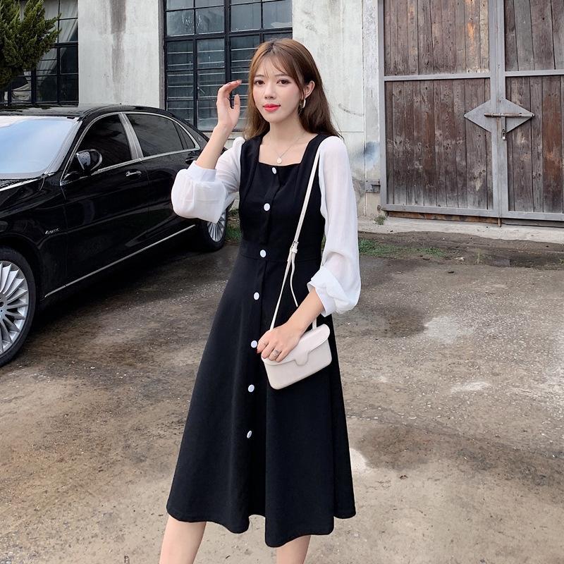 YeEGZ Sonbahar / Kış 2020 yeni Fransız kare yaka düz renk zayıflama elbise kadın dibe elbise