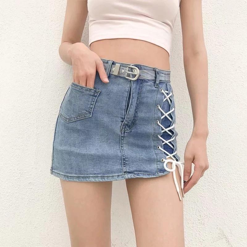 estilo nzK0b coreano moda lace-up saia de verão alta denim cintura fina saia curta ming fino coberto de hip denim mulheres