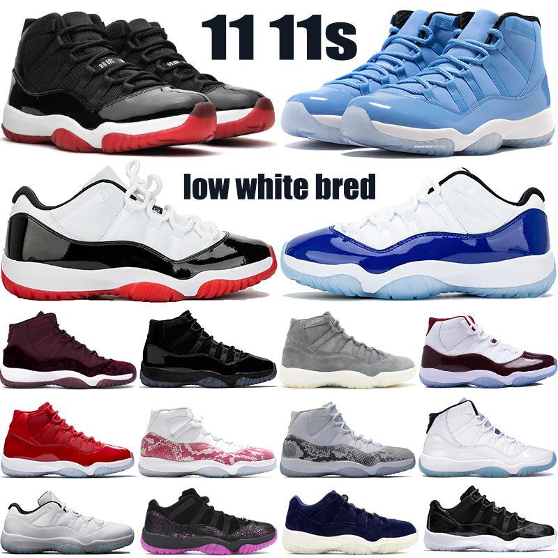 새로운 11 11S Jumpman 농구 신발 낮은 전설 파란색, 흰색 사육 벨벳 절정 회색 상속녀 블루 PANTONE 망은 운동화 트레이너 여자