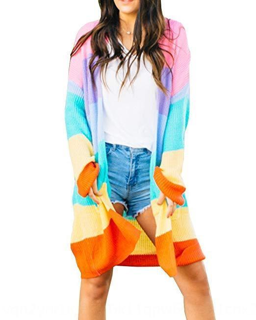 F6sMI 2020 nuevo arco iris de colores de las mujeres cosiendo 2020 nueva capa de la capa chaqueta de punto chaqueta de punto arco iris de costura colorido de las mujeres