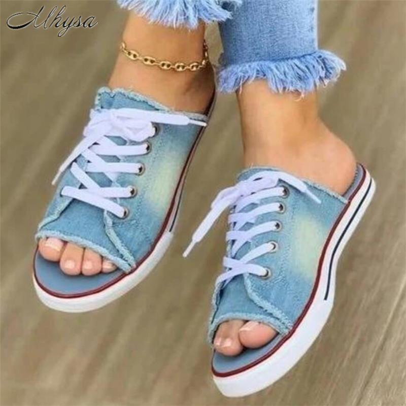 2020 Kadınlar Yaz Sandalet Flats Ayakkabı Kadın Klasik Terlik Slaytlar Lace Up Plus Size Denim Jean Sandalias Mujer Sapato Feminino