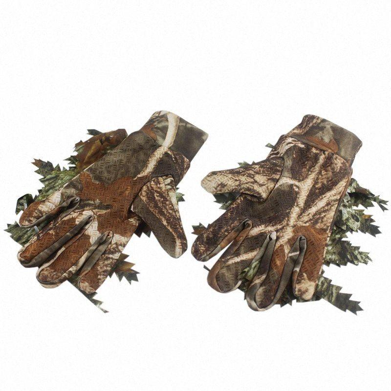 Новый Открытый Охота Рыбалка 3D Гольф Учебные пособия Гольф Кленовые листья Bionic Камуфляж перчатки Полный палец Skidproof Охота Перчатки g3D7 #