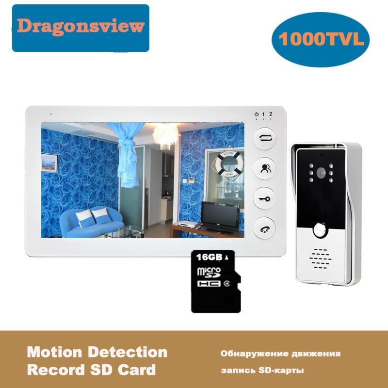 Video-Door-Telefone DragonsView 7-Zoll-Telefonset Türklingel mit Kamera Home Intercom Entsperren Bewegungsaufzeichnungszugriffssystem