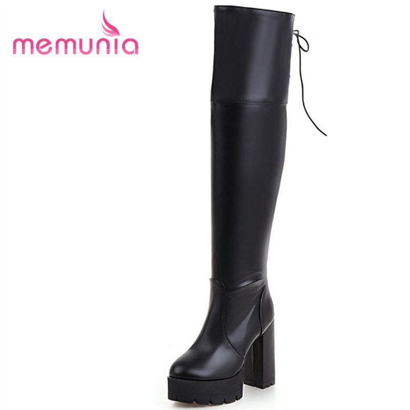 MEMUNIA mujeres botas de tamaño grande 34-43 elegante de invierno extrema de tacones altos botas de punta redonda de la moda de alta del muslo 2020 nuevos llegan