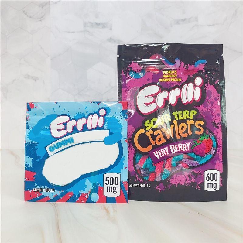 Errlli gummi tasche 500 mg 600mg süßigkeiten mylar taschen prothale edibles errlli kunststoff verpackung taschen