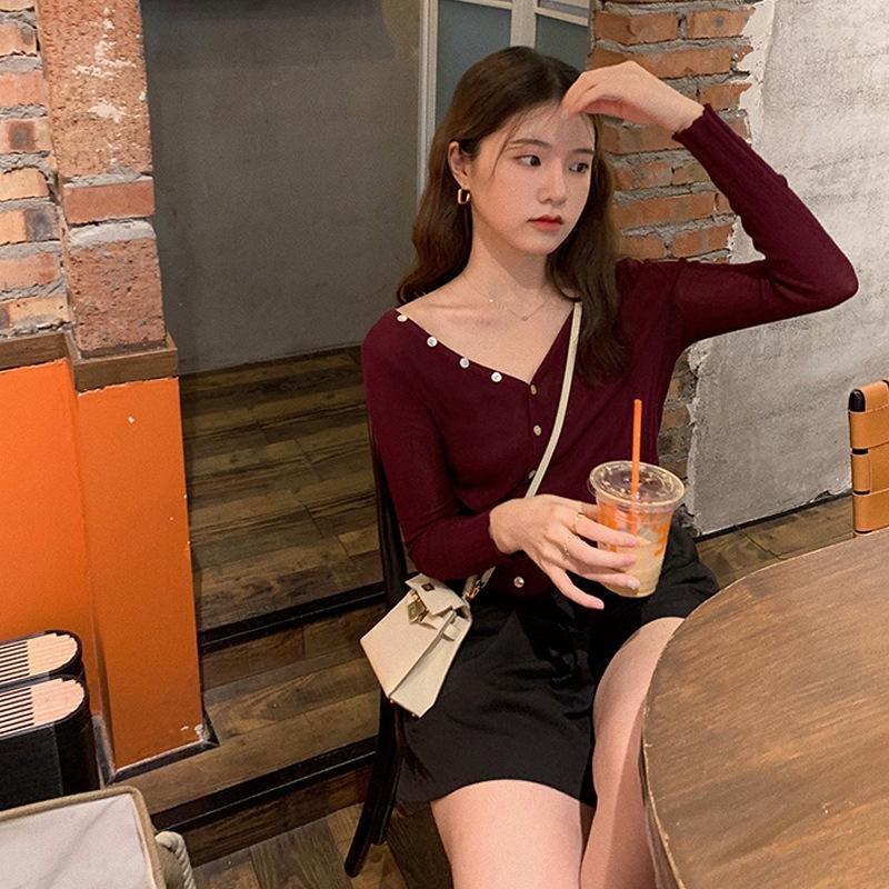 I6LLq 2020 início do Outono nova roupas femininas 7,15 New 2ways sorte proteção solar ultra-fino top de malha de moda Top Coat emagrecimento