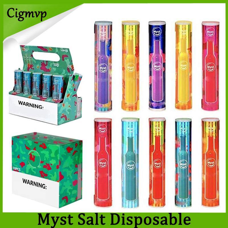원래 Myst Salt 일회용 전자 담배 장치 280mAh 배터리 14 색상 활성화 된 발사