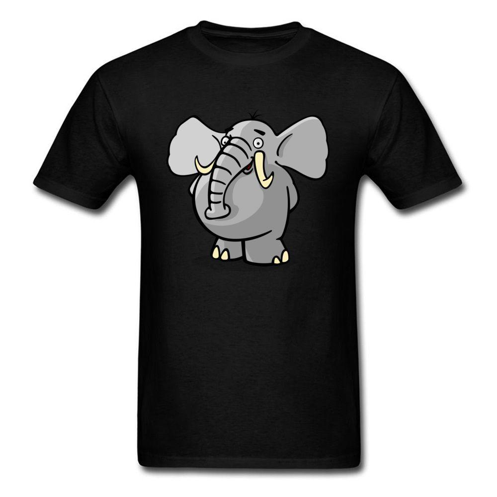 Drop Shipping Smiling Elephant Männer T-Shirt einfache nette Karikatur-Entwurfs-T-Shirts Short Sleeve Top-Baumwollkleidung Schwarz Grau