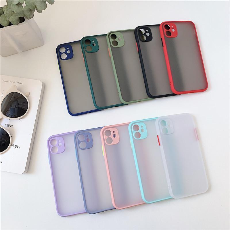 Stoßfeste Matte Telefon Hüllen für iPhone 12 11 PRO MAX XR XS x 6 7 8 Plus Hülle transluzent Stoßstange PC Hard Back Cover