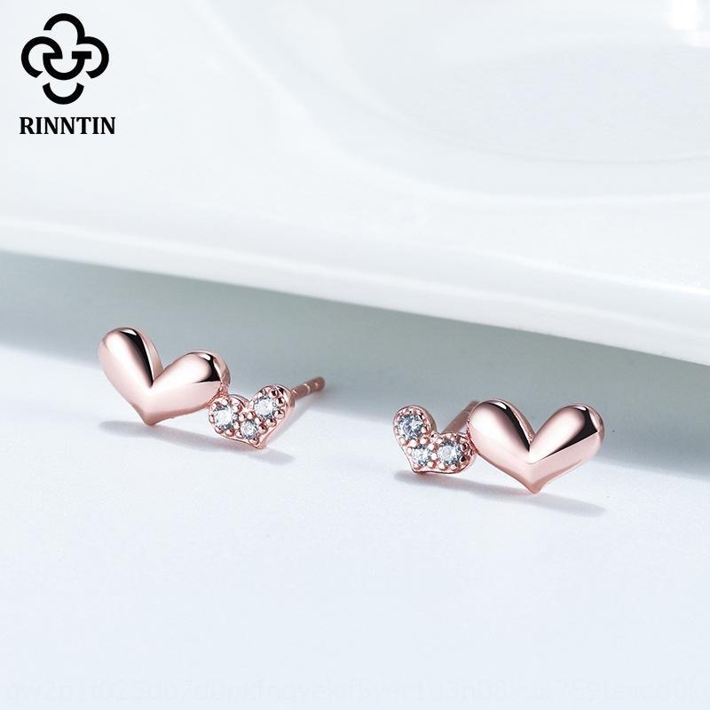 RINNTIN 925 gümüş elmas elmas ve Kore zarif kadın küpe seviyorum şekilli küpe