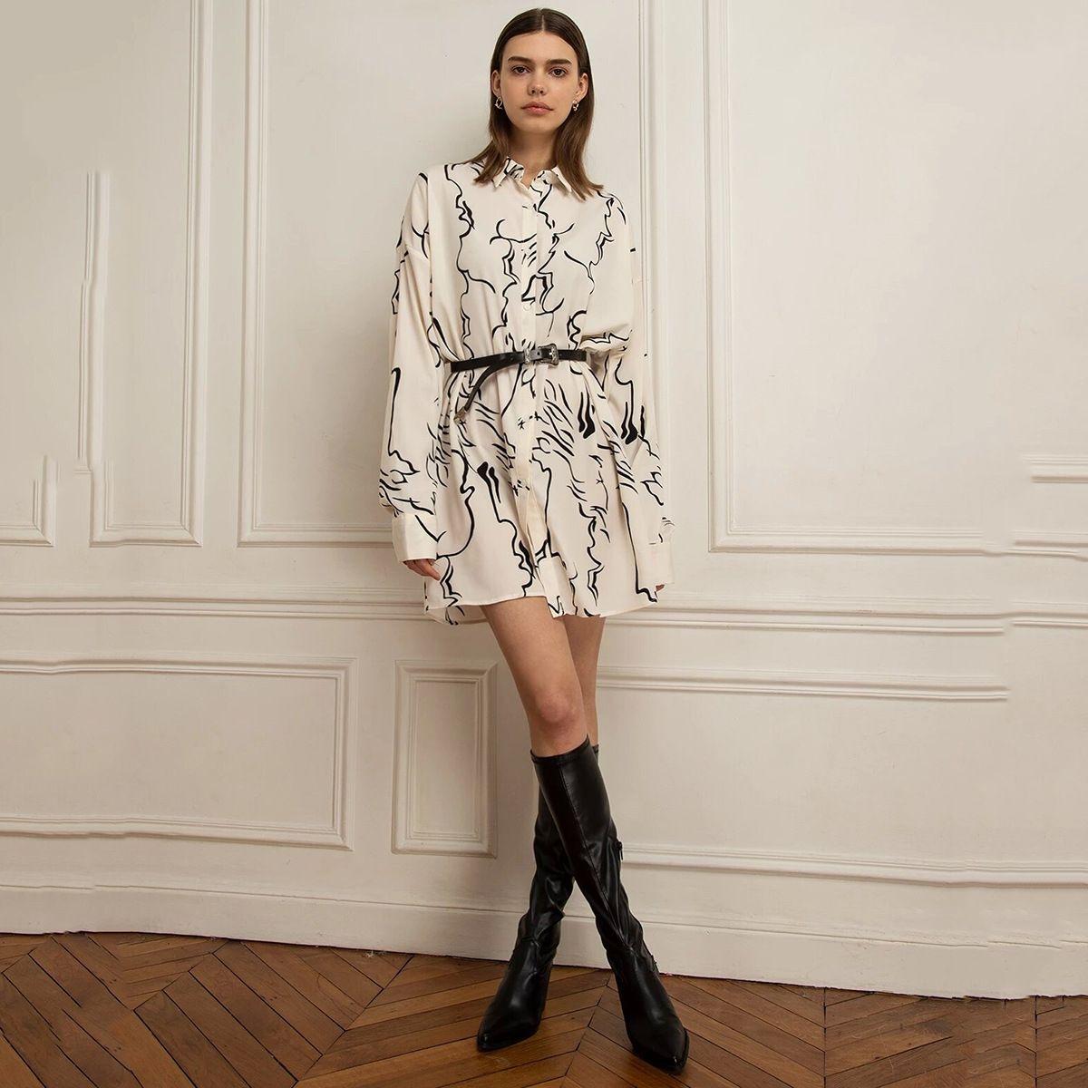 T9zvx HAODUOYI simple personality commuting style irregular pattern printing shirt dress long sleeve shirt style loose dress 2020