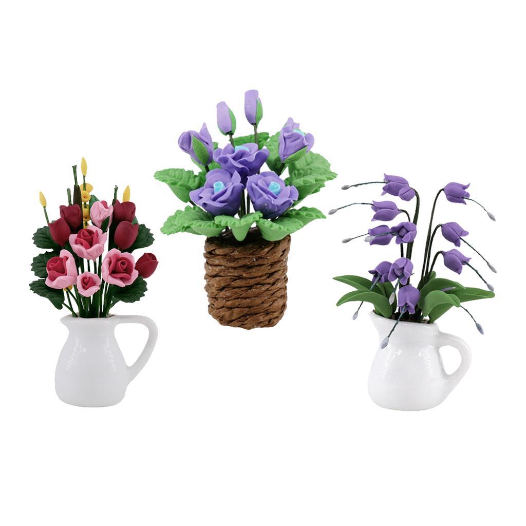 3Pcs 1:12 Scale Dollhouse Miniature Flower In Vase Garden Decorative
