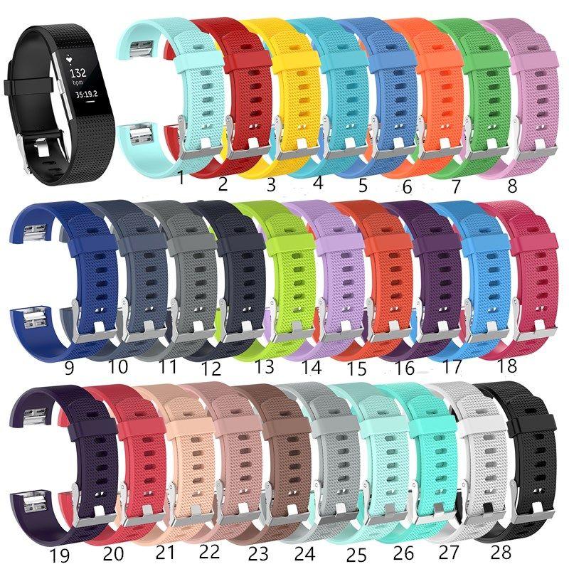 Precio más bajo 28 COLOR SILICONE STRUP PARA FITBIT CHARGE2 BAND FITNEY Pulsera inteligente Relojes de reemplazo Sport Bandas para FitBit Cargar 2