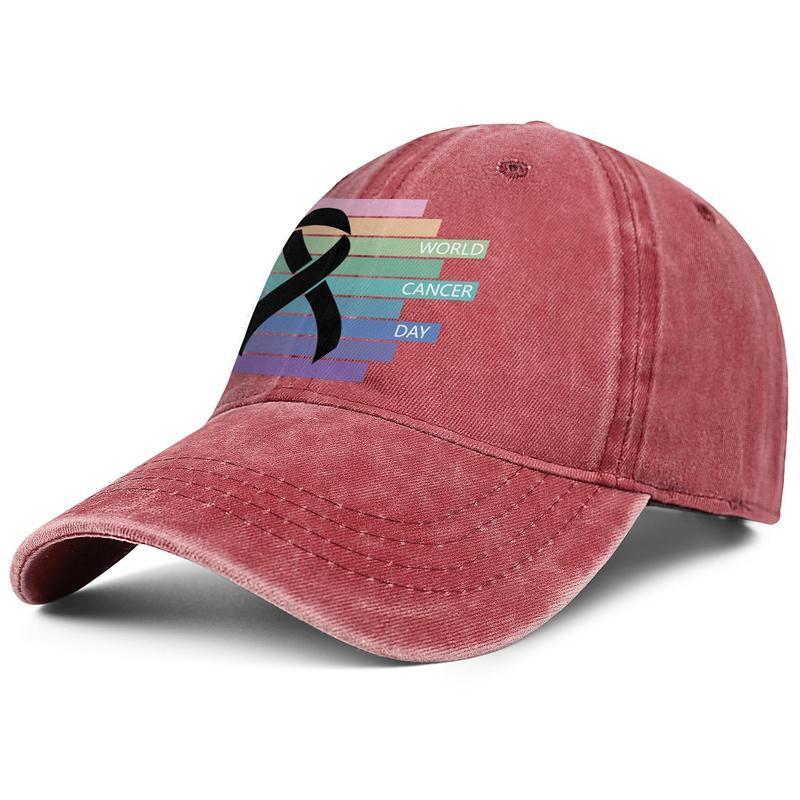 Giornata mondiale contro il cancro Uomini Donne logo nero di colore di modo Berretto da baseball denim lavato fredda del papà cappello registrabile sfera Vintage Awareness Ribbon 4 °