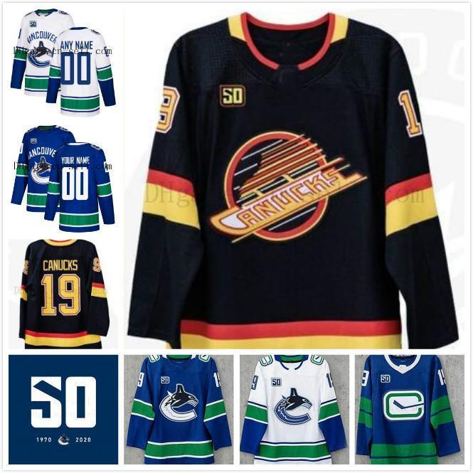 50. Saison-Patch Vancouver Canucks Elias Pettersson Bo Horvat Brock Boeser Podkolzin Miller Roussel Alexander Sedin Virtanen Hockey Jersey