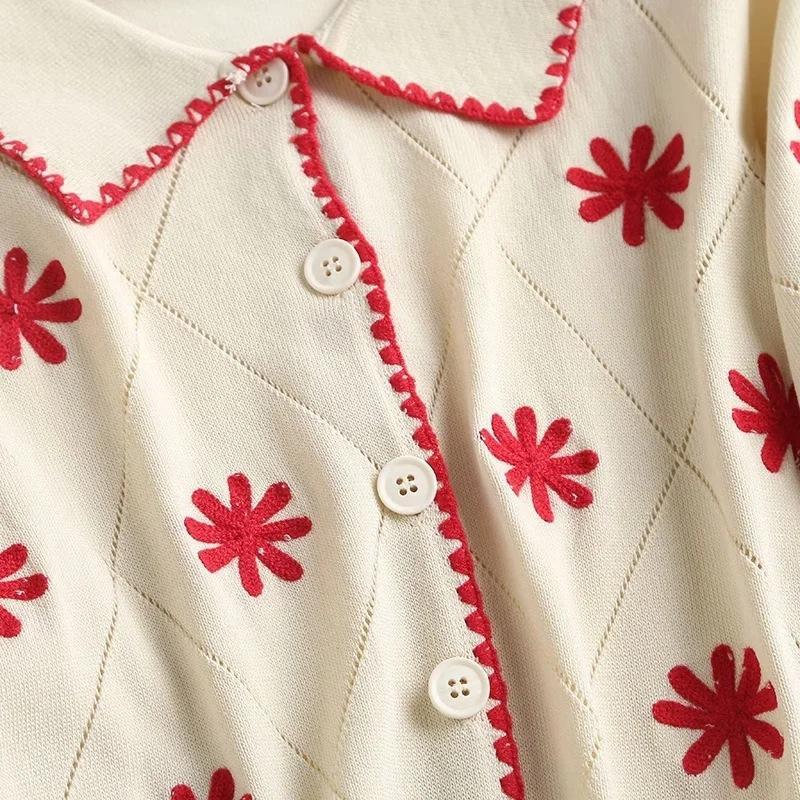 tYORD neuen koreanischen Stil Kleidung der Frauen bestickte Hemd 2020 Sommer Revers Diamant kurz 0tDNb Blume Diamant-Hülse Gestickte gestrickt shi