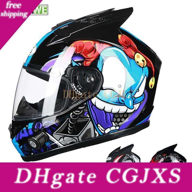 Wosawe 2020 New Motorcycle Helmet completa respirável à prova de choque Visor Motocross capacete Shell Removível Reflective Scooter