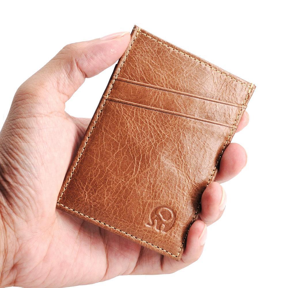 Новый тонкий 5 слотов для карт из натуральной кожи держатель Мужчины Porte Carte Минималистский Кошелек для карт