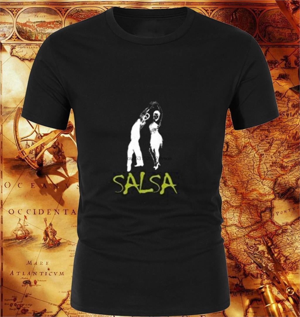 Dança Latina - Estilo Graffiti Salsa T-shirt fresco Men 'S Neu alta qualidade Cotton Tees em torno do pescoço T-shirt
