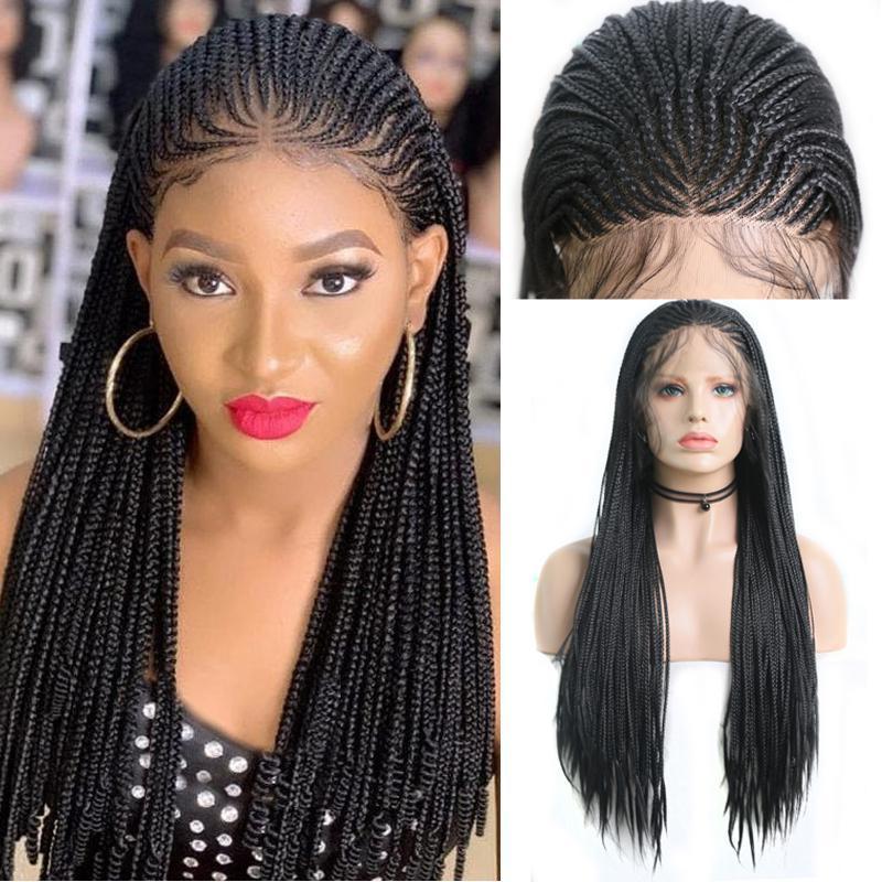 Una peluca con cordones de cordones de Drilys pelucas trenzadas para mujeres negras Caja larga sintética Peluca de trenzas para mujer Pelucas negras Fibra resistente al calor