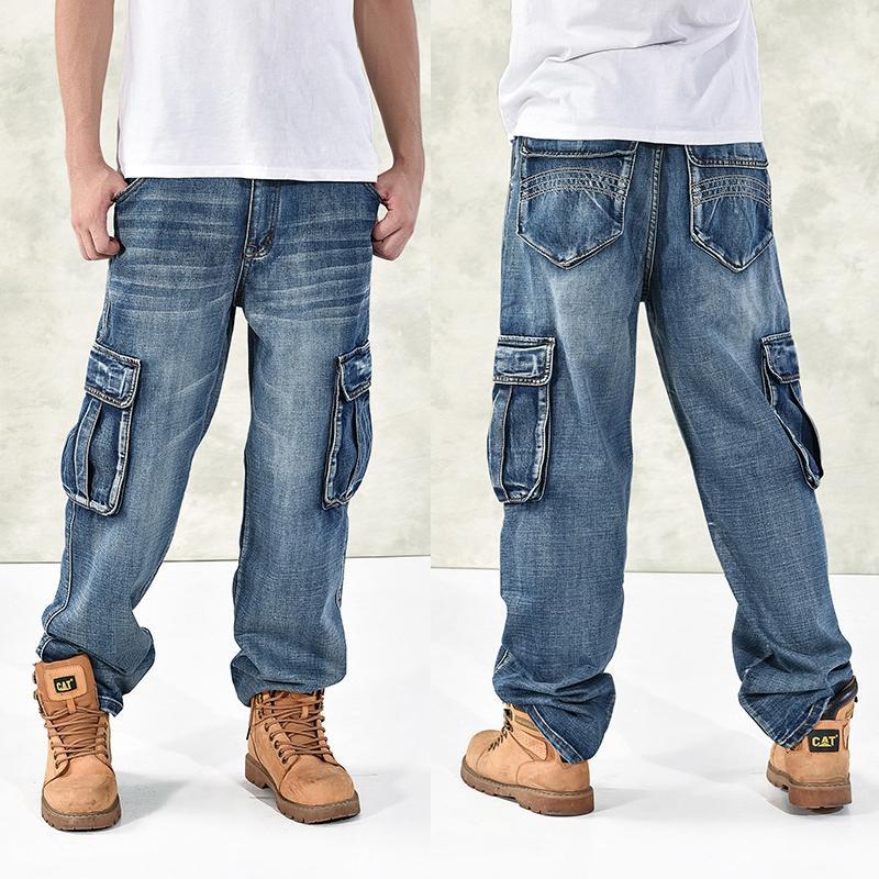 HOT New 2020 Large Size 30-44 46 Jeans Fashion Loose Big Pockets Hip-Hop Skateboard Casual Men Denim Blue & Black Design Brand CX200824