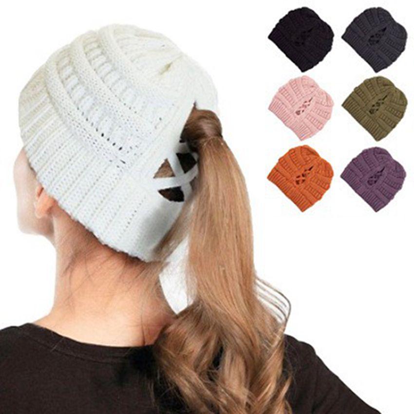Les femmes tricotée laine Beanies Criss Cross Cap Hiver Outdoor Crochet Cap Bonnet Bonnet Baggy stretch Caps Chapeaux de fête IIA672