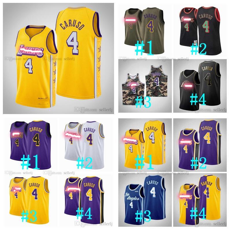 Özel Erkek Kadın Gençlik LosAngelesLakersGerileme Jersey Caruso Sarı swingman Basketbol Formalar S-6XL