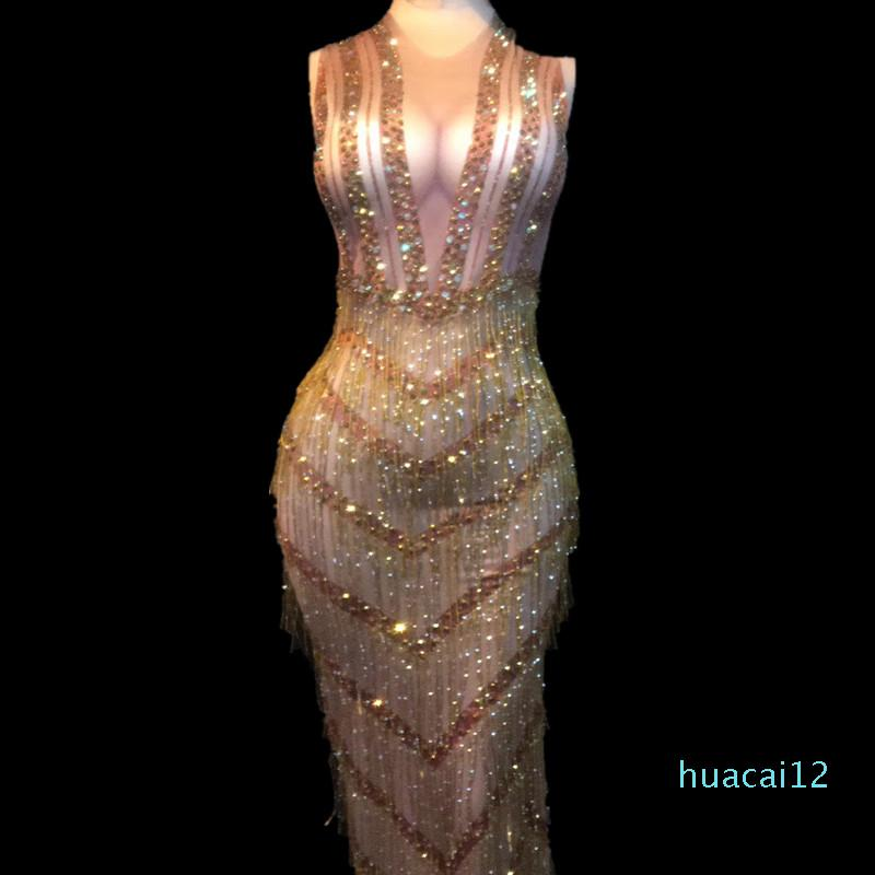 Hot Sale Women Sexy Stage Wear Bling Long Dress Gold Tassel Sparkling Crystals Costumes Nightclub Wedding Party Stage Dance Free Shipping