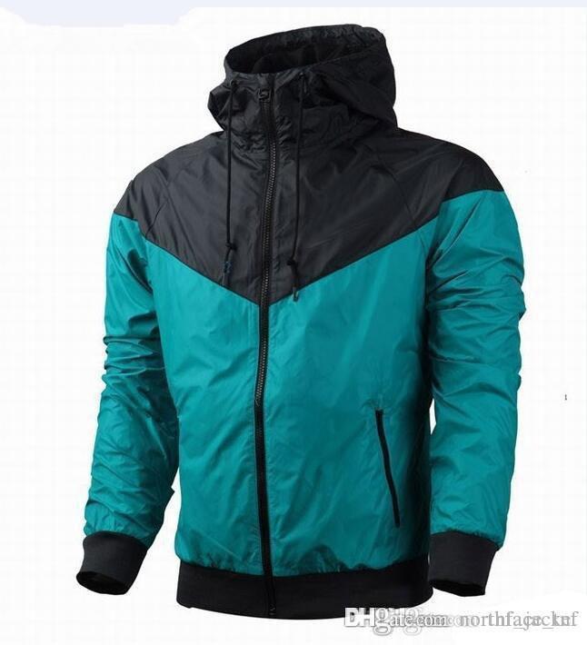 la mode nouvelle veste bleu hommes manches longues sport d'automne extérieur windrunner avec vêtements pour hommes coupe-vent fermeture éclair, plus cadeau de taille