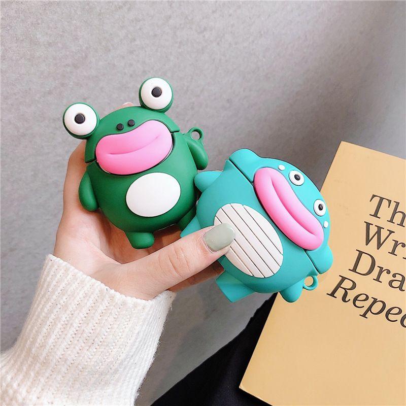Copertura di caso del fumetto 3D bella salsiccia Mouth Frog coccodrillo Earpods per Airpods Pro Wireless Headset di caso per Airpods 1 2 casi