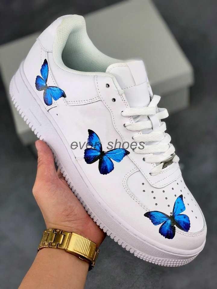 2020 New White Blue Butterfly 1s Klassische Mädchen-Frauen-Herren Laufschuhe Skate Low Cut Trainer Skateboard Turnschuhe 36-45